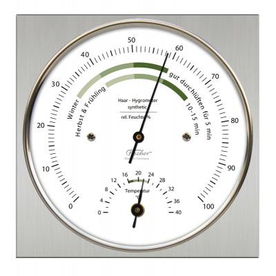 ZX Thermo- / hygrometer Fischer RVS vierkant