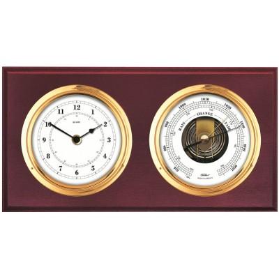 Klok met barometer Fischer, mahonie