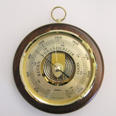 Barometer rond noten Fischer QR