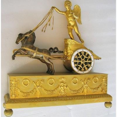 """French Empire Chariot Clock """"Au Char De L'Amour"""""""