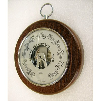 Ronde barometer noten/chroom