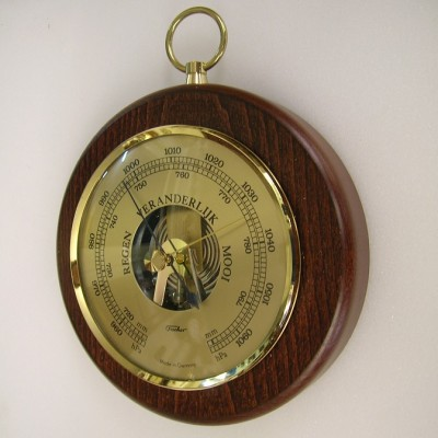 Barometer rond mahonie/messing