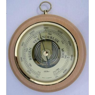 Blank houten barometer rond Fischer