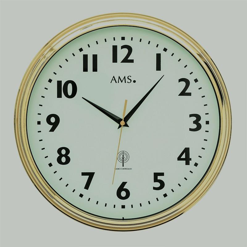 Ams Badkamer Klok 5923: Radio Gestuurde Klok AMS 5964 Messing