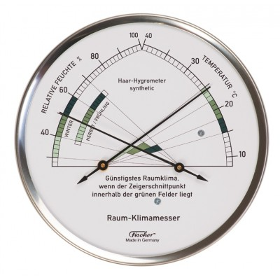 ZX Thermo- / hygrometer XL Fischer RVS