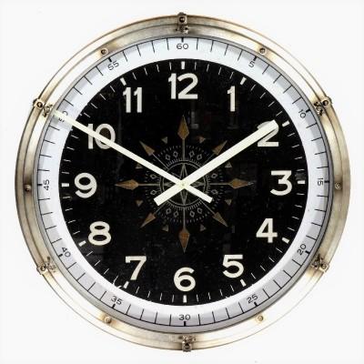 Grote industriële klok XL 931 Patrijspoort antiek zilver 80 cm