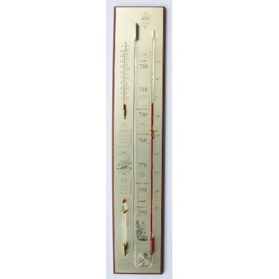 Kwikbarometer noten/messing met glas