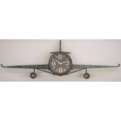Grote metalen vliegtuig-klok XXL 456