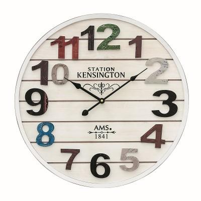 Houten ronde klok AMS 9538