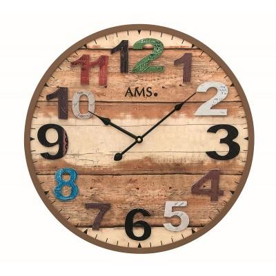 Houten ronde klok AMS 9539