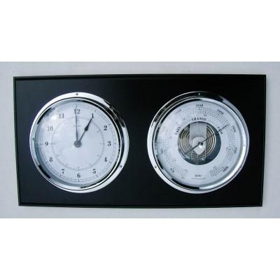 Klok met barometer Fischer, zwart