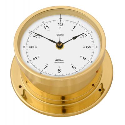 Fischer scheeps klok + secondewijzer koper