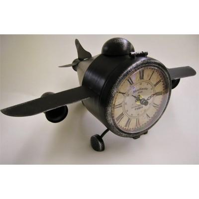 Metalen vliegtuig staand klokje CB302